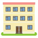 Private house with a red roof and yellow walls on a white background. Vector illustration Royalty Free Stock Photos
