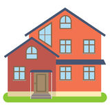 Private house with red walls on a white background. Vector illustration Stock Image