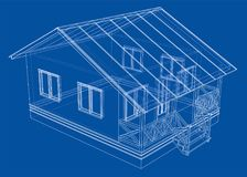 Private house sketch. 3d illustration. Wire-frame style Royalty Free Stock Photo