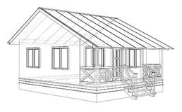 Private house sketch. 3d illustration. Wire-frame style Stock Photo