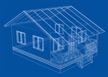 Private house sketch. 3d illustration. Wire-frame style Royalty Free Stock Images