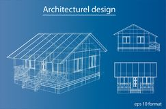 Private house sketch. 3d illustration. Wire-frame style Stock Photos