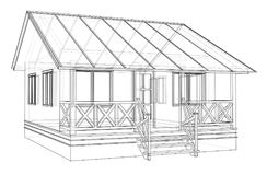 Private house sketch. Vector. Rendering of 3d. Wire-frame style. The layers of visible and invisible lines are separated Stock Images