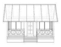 Private house sketch. Vector. Rendering of 3d. Wire-frame style. The layers of visible and invisible lines are separated Royalty Free Stock Photos