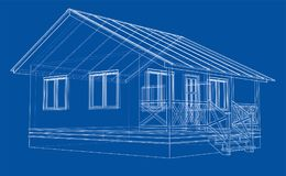 Private house sketch. Vector. Rendering of 3d. Wire-frame style. The layers of visible and invisible lines are separated Stock Photos