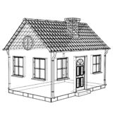 Private house sketch. Vector rendering of 3d vector illustration