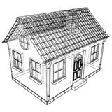 Private house sketch. Vector rendering of 3d stock illustration