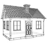 Private house sketch. Vector rendering of 3d royalty free illustration