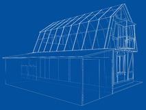 Private house sketch. Vector rendering of 3d stock photo