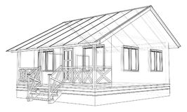 Private house sketch. Vector. Rendering of 3d. Wire-frame style. The layers of visible and invisible lines are separated Royalty Free Stock Photo