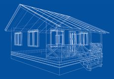 Private house sketch. Vector. Rendering of 3d. Wire-frame style. The layers of visible and invisible lines are separated Stock Image