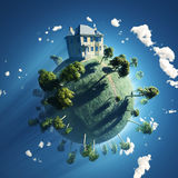 Private house on small planet Royalty Free Stock Image