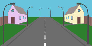 Private houses. Private home on the road in the future Royalty Free Stock Photo