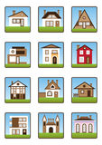 Private houses icons set Royalty Free Stock Photography