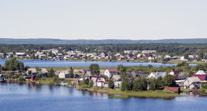 Private houses of suburbs on a lake. Private houses of suburbs of Petrozavodsk city on the Onego lake Royalty Free Stock Photography