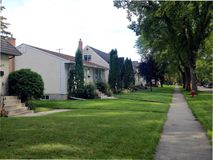 Private houses in Winnipeg. View of the private homes and cottages in Winnipeg City, Manitoba, Canada Stock Photo