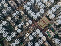 Private housing of Hong Kong. From drone view stock photo