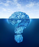 Private Information. Hidden insider knowledge and secret personal or business data as a partially submerged iceberg in the shape of a question mark symbol as a Stock Photo