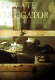Private investigator office. Open  window on the vintage office of a private investigator, viewed from the outside.  A gun, a typewriter, an inspector`s badge, a Stock Images