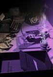 Private investigator`s desk Stock Image