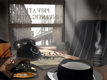 Private investigator's office. Interior of a vintage private investigator's office Stock Images