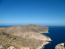 Private Island in the Cyclades. Terraced oceanview in the Cyclades, Folegandros, Greece Royalty Free Stock Image