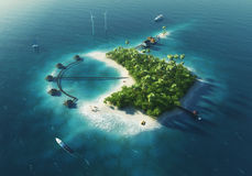 Private island. Paradise tropical island. With wind turbines energy and bungalows. See more island illustrations in my portfolio Stock Photography