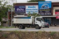 Private Isuzu Dump Truck. Chiangmai, Thailand - July 9 2019: Private Isuzu Dump Truck. On road no.1001 8 km from Chiangmai Business Area royalty free stock image