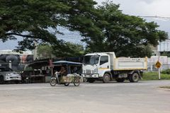 Private Isuzu Dump Truck. Chiangmai, Thailand - July 9 2019: Private Isuzu Dump Truck. On road no.1001 8 km from Chiangmai Business Area royalty free stock images