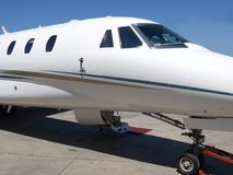 Private Jet. Front right view of a private jet Royalty Free Stock Photos