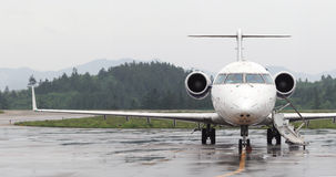Private Jet. Front view of a private jet stock photography