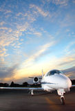Private Jet. Portrait of a corporate jet on the runway against an evening sky Royalty Free Stock Photo