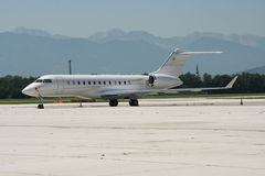 Private Jet. On ramp in Klagenfurt, Austria stock image
