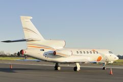 Private jet aircraft. Parked on the tarmac Stock Image