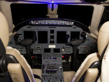 Private Jet Aircraft Cockpit Stock Images