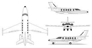 Private jet airplane. A illustration of private jet airplane Stock Images