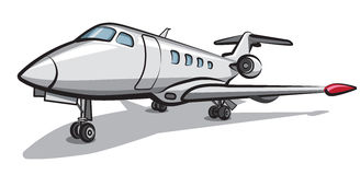 Private jet airplane. Illustration of private jet airplane parked in airport Stock Photo