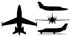 Private jet airplane. A illustration of private jet airplane silhouette Stock Images