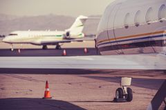 Private Jet Airplane. Executive Airport. Business Air Travel Stock Photo