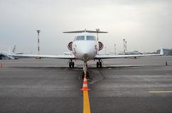 Private jet at the airport royalty free stock photo
