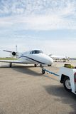 Private Jet Being Towed Stock Photos