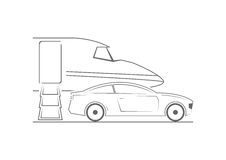 Private jet and car. Line art design. Vector illustration Royalty Free Stock Photo