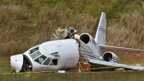 Dassault Falcon 50 crash in Greenville SC stock photos