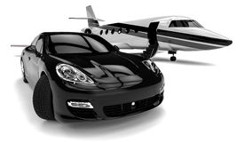 Private Jet. 3D render image representing a private limousine with a private jet Royalty Free Stock Photo
