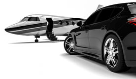 Private Jet. 3D render image representing a private limousine with a private jet Stock Photo
