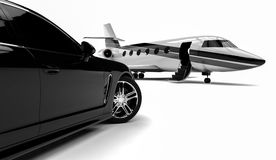 Private Jet. 3D render image representing a private limousine with a private jet Stock Images