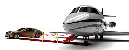Private Jet-Fläche und Limousine des roten Teppichs Lizenzfreies Stockfoto