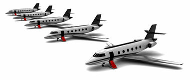Private jet fleet. 3D render image representing a private jet fleet Stock Images