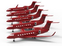 Private jet fleet on ground. 3D render illustration of a private jet fleet stationed on the ground. The composition is isolated on a white background with Stock Images