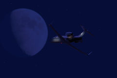 Private jet flying at night Stock Images
